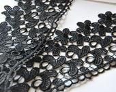 Black Bridal Floral Lace Trim