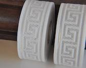 White  Greek Key Jacquard  Ribbon  Trim 35mm