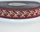 Burgundy Jacquard Ribbon with Gold leaves  15mm ,trim flower  ,quilting  border , Embroidered border, patterned trim,Commercial Supply