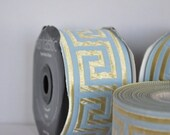 10 continuous meters Turquoise  and Gold Satin  Greek Key Jacquard Ribbon  Trim   50  MM   2 inches