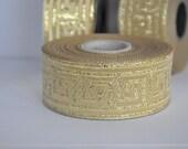 35mm Gold jacquard ribbon trim  greek key