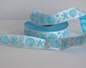 Nautical Ribbon trim, Sea shell,starfish designed ribbon, summer inspired ribbon,blue satin ribbon 20mm