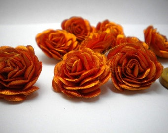 6 pc Satin Orange  Roses Pin Brooch Hat Hair Accessory Baby Girls Bow Headband Quilting