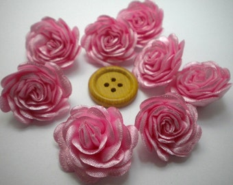 6 pc Satin Cherry blossom pink  Roses Pin Brooch Hat Hair Accessory Baby Girls Bow Headband Quilting