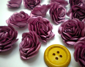 6 pc Satin DARK PINK  Roses Pin Brooch Hat Hair Accessory Baby Girls Bow Headband Quilting