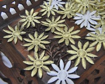 18 Metallic GOLD  Satin Daisy Flowers Embellishement