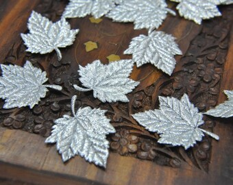 18 Metallic  SILVER  Satin Sycamore Leaves Embellishement