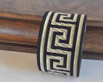 Navy blue and Gold Satin Greek Key Jacquard Ribbon Trim