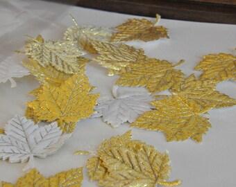18 Metallic Gold  Satin Sycamore Leaves Embellishement