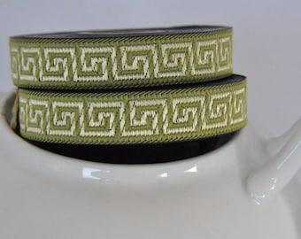 pistachio green and Gold  15mm  Greek Key Jacquard Ribbon Trim  1 roll 10 meters