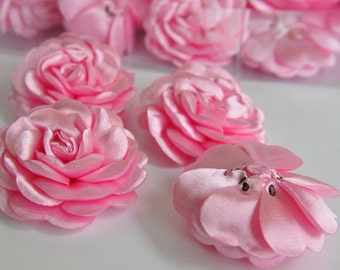 Baby Girls Bow, Satin  Roses Pin Brooch Hat Hair Accessory  Headband Quilting