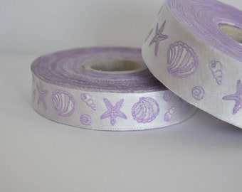 CLEARANCE SALE  50 discount - Satin Jacquard Ribbon Trim with nautical shell and star decorations