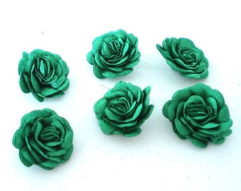 6 pc Satin Forest green Roses Pin Brooch Hat Hair Accessory  Baby Bow Headband