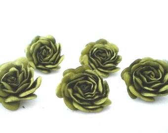 5 pc Satin Olive green Roses Pin Brooch Hat Hair Accessory Baby Bow Headband