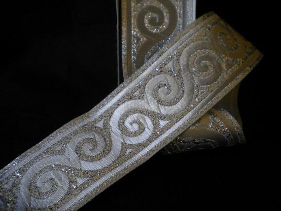 Silver Jacquard Ribbon Trim  35mm, 1 roll  -  10 meters