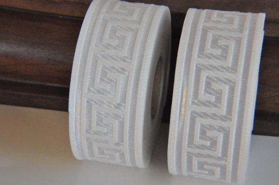 White  Greek Key Jacquard  Ribbon  Trim 35mm