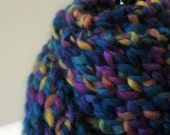 Wool hand knit scarf - thick, long, hand knit, womens,