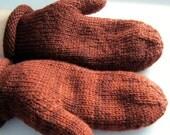 Womens knit mittens, Autumn, brown, clove, custom made