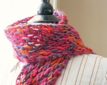Scarf - womens colorful, pink purple orange, wool,