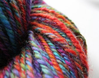 Handspun yarn - rainbow, worsted weight wool, hand spun wool, art yarn, Lambs Ears, yarn shop
