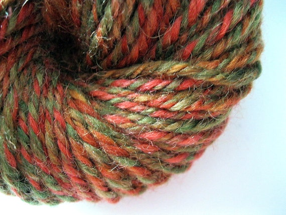 Handspun yarn - worsted weight wool, red and green