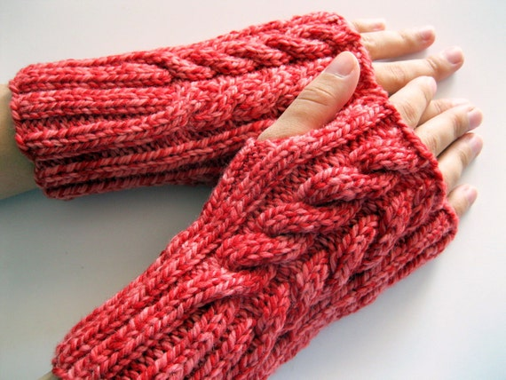 fingerless gloves red, handmade, cable fingerless mittens, wrist warmers, arm warmers, gift for her, Winter, texting gloves