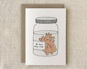 Anniversary Card, Love Card - Heart in a Jar