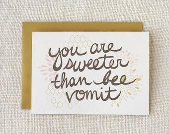 Thank You Card, Anniversary Card, Love Card, Friendship Card - Bee Vomit