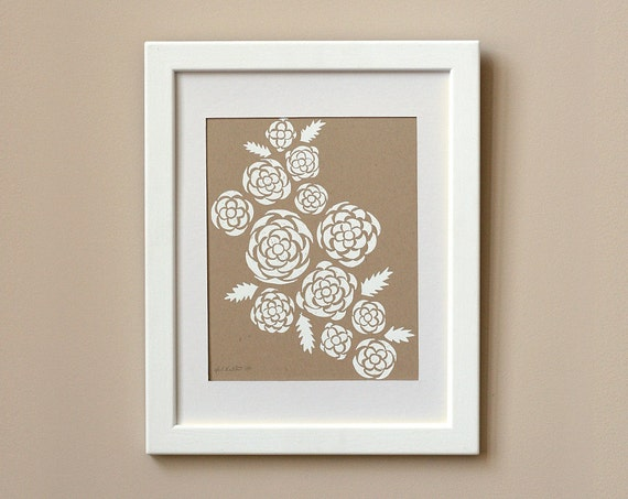 SALE 50% OFF - Limited Edition Screen Print - White Roses