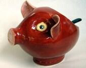 Red Stoneware Salt Pig or Sugar Bowl