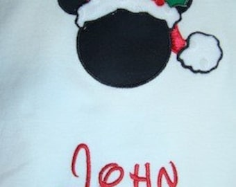 Christmas applique Mickey Mouse or Minnie in Santa hat great for mom dad parents