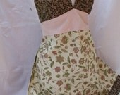 Retro Sexy Sage, Brown and Pink Halter Apron - L\/XL