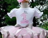 Birthday Tutu Outfit   -Pretty Pretty Princess light pink and silver ribbon tutu set