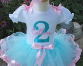 Pink and aqua Baby girl first birthday outfit, Girls Birthday Tutu Outfit in Aqua and pink ribbon trimmed 1st 2nd 3rd 4th 5th birthday dress