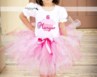 Girls Birthday Outfit-  Pinkalicous Personalized Cupcake Birthday Tutu Outfit -up to size 6