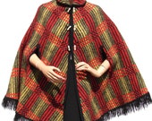 Vintage 1960s Reversible Plaid Wool Cape // Red and  Black and Yellow and Green