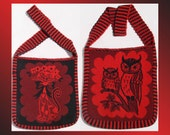 Vintage 1970s Wool Shoulder Bag // The Owl and the Pussycat Purse // Red and Black