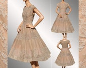 Vintage 1950s Lace Organza Taupe Dress //  Full Crinoline Skirt Ladies Size Small