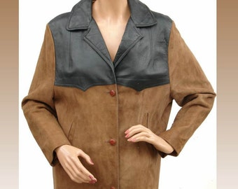 1960s Womens Suede and Leather Jacket - Western Style