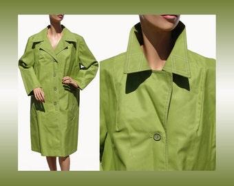 Vintage 1960s Lime Green Raincoat - L