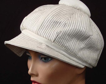 Vintage 60s  Vinyl MOD Ladies Peaked Cap Hat White with Black Stitching Large 7 3\/8