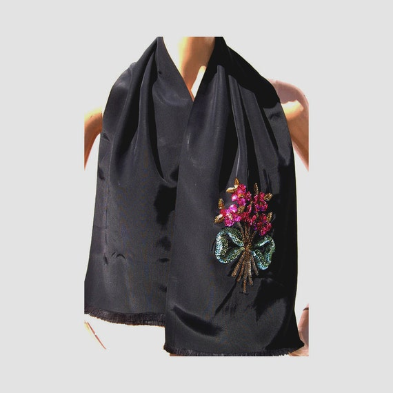 Vintage 1940s Black Satin Scarf //  Pink and Gold and Green Sequin Flower Bouquet