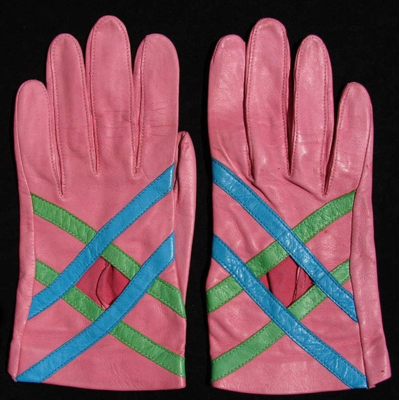 Vintage 60s Pink  Kid Gloves // Lime Green and Blue Small - size 6 1/2