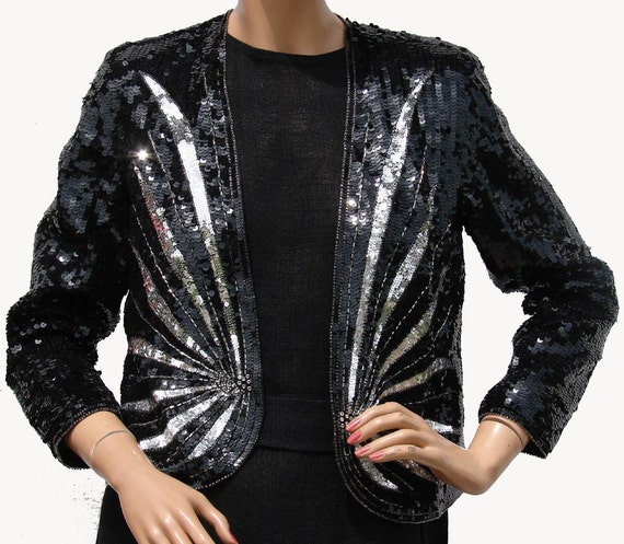 Vintage 90s Black and Silver Sequin and Beaded Rhinestone Jacket Art Deco Style