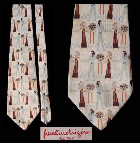 Vintage 1970s Pauline Trigere Silk  Mens Tie Egyptian Motif