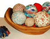 Lot of 11 Rag Balls Vintage Fabric Home Decor or Rug Making