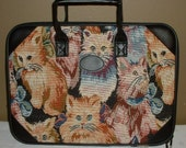 Vintage Tapestry and Vinyl Case Briefcase Kitten Cat Design Computer Case