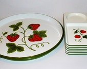 Vintage Strawberry Tray and Luncheon Plate Set 7 pc Picnic Ware AWESOME