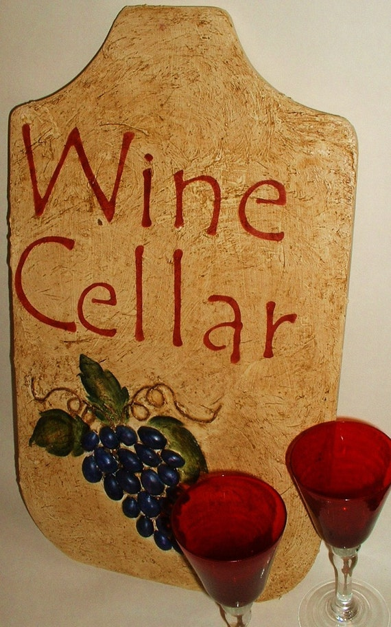 Stucco-look Wood Wine Cellar Sign Upcycled