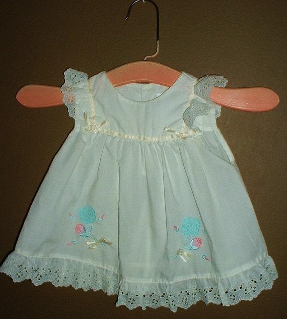 Vintage White Baby Infant 18 mo Dress Eyelet Ruffle  SWEET with Wood Hanger